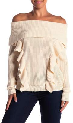 Flying Tomato Ruffled Off-the-Shoulder Long Sleeve Sweater
