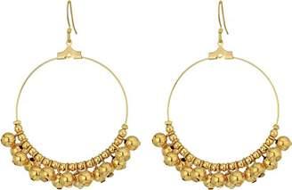 Kenneth Jay Lane Women's Gold Hoop/Polished Gold Bead Fishhook Ear Earrings