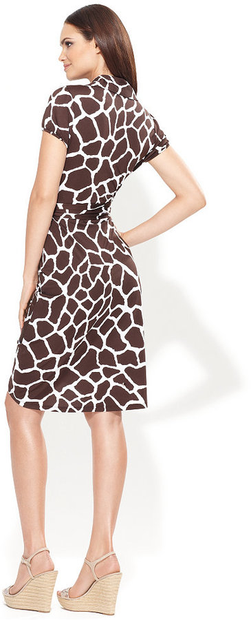 INC International Concepts Dress, Cap-Sleeve Printed Faux-Wrap