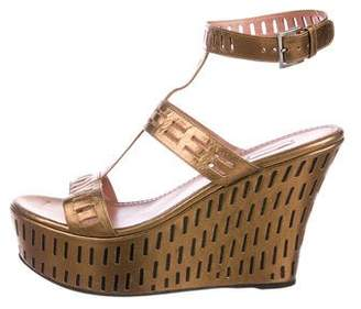 Alaia Leather Ankle Strap Wedge Sandals