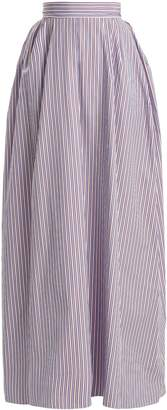 Rochas Striped cotton-poplin maxi skirt