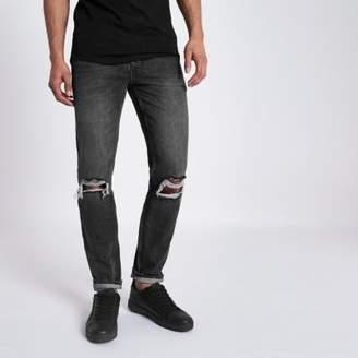 River Island Mens Black Roy warp distressed skinny jeans