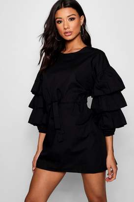 boohoo Gathered Tie Waist Ruffle Sleeve Dress