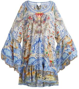 Camilla Geisha Gateways Silk Dress - Womens - Blue White