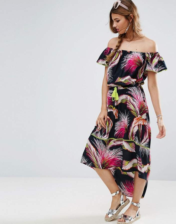 AsosASOS Tropical Print Off Shoulder Maxi Dress with Dipped Hem