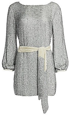 RetrofÃate Women's Grace Sequined Split Back Mini Dress