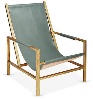 One Kings Lane Wright Sling Chair - Bronze/Storm Leather