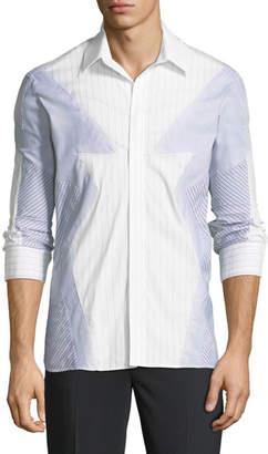 Neil Barrett Pieced Patchwork Striped Sport Shirt, Multi
