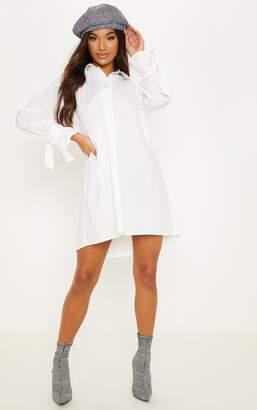 PrettyLittleThing White Oversized Tie Sleeve Smock Shirt Dress