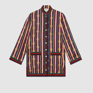 Gucci Square GG belts silk twill shirt