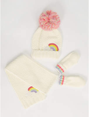 Bobble George Cream Rainbow Hat Scarf and Mittens Set