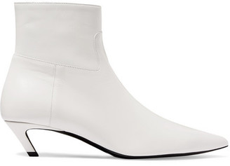 Balenciaga Talon Slash Leather Ankle Boots - White