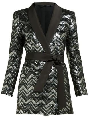 BLAZÉ MILANO Funky Fred Zigzag Silk Blend Blazer Mini Dress - Womens - Silver Multi