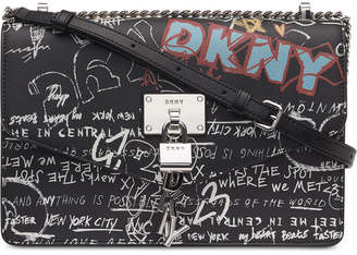 DKNY Elissa Leather Graffiti Logo Chain Strap Shoulder Bag