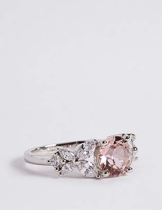 Marks and Spencer Platinum Plated Diamanté Rose Ring