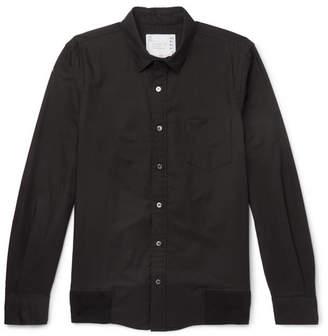 Sacai Rib-Trimmed Cotton Oxford Shirt