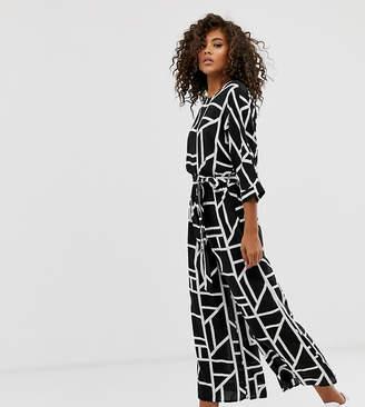 Asos Tall DESIGN Tall Tie Waist Jumpsuit in mono geo print