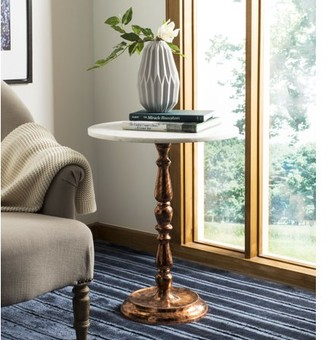 Safavieh Kiona Round Marble Top Accent Table, Antique Copper/Marble