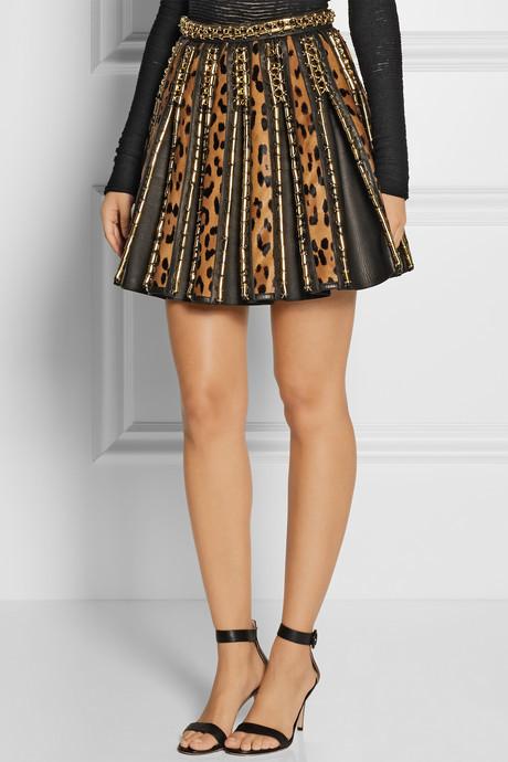 Balmain Embellished leopard-print calf hair and leather mini skirt