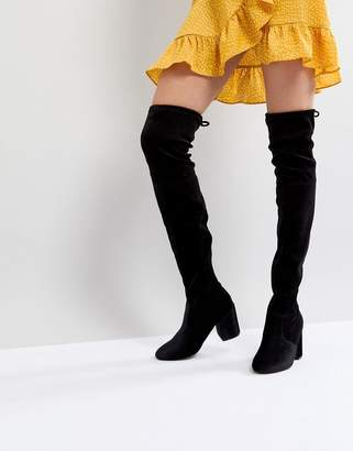New Look Velvet Over the Knee Block Heeled Boot with Tie Back