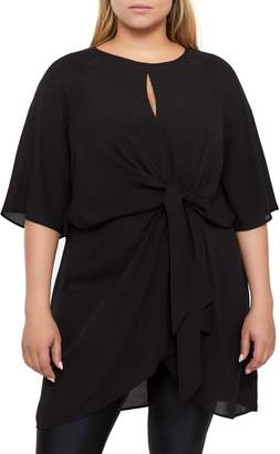 Michel Studio Knot Detail Flutter Sleeve Tunic Top