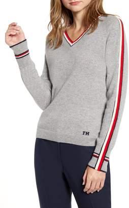 Tommy Hilfiger Stripe Detail V-Neck Sweater
