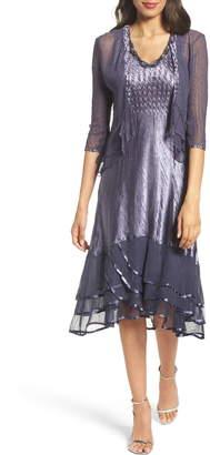 Komarov Embellished Charmeuse Dress & Chiffon Jacket