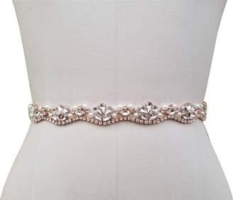 Off-White KIMAXBridal Bridal Belt with 3 Colors Choice of Rhinestone Piece for Wedding Dress