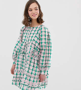 Sister Jane oversized smock dress with ruffle detail in grid check