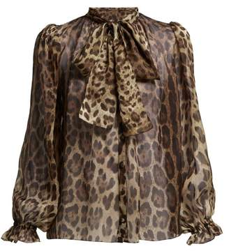 Dolce & Gabbana Leopard Print Pussy Bow Silk Blouse - Womens - Leopard