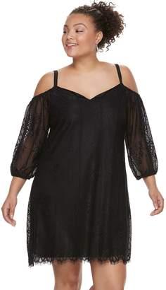 d15299f33fa Juniors  Plus Size Lily Rose Lace Cold-Shoulder Shift Dress