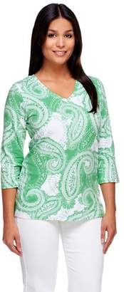 Denim & Co. Perfect Jersey Paisley Print V-neck Top
