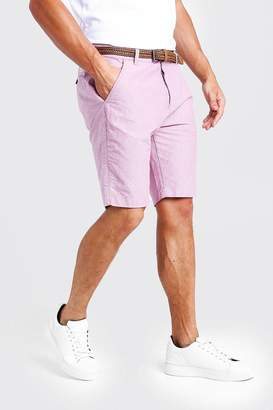 boohoo Cotton Oxford Short With Woven Belt
