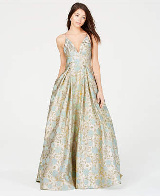 B. Darlin Juniors' Metallic-Print Ballgown