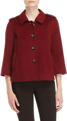 Badgley Mischka Wine Three-Quarter Sleeve Double Face Wool Jacket
