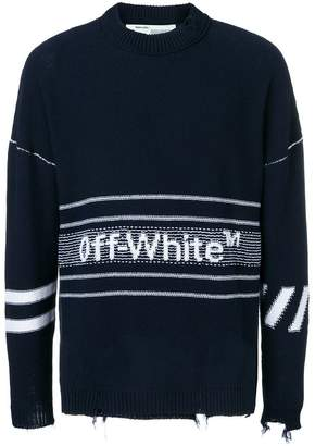 Off-White ripped logo sweater