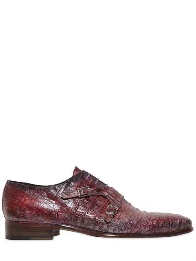 Crocodile Double Buckle Monk Strap Shoes
