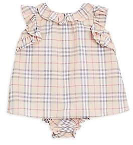 Burberry Baby Girl's Carla Two-Piece Ruffle Tartan Dress & Bloomer Set