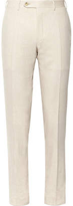 Canali Beige Kei Slim-fit Linen And Wool-blend Suit Trousers - Beige