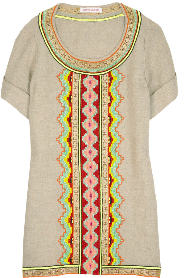 Matthew Williamson Beaded linen top