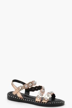 boohoo Studded Asymmetric Sandals