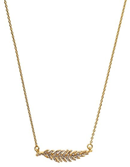 Juicy Couture Pave Feather Wish Necklace