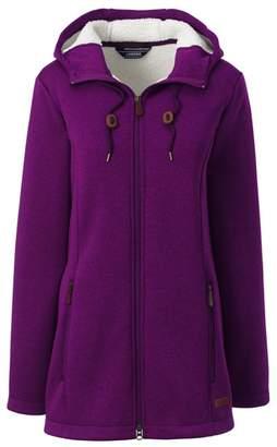 Lands' End Purple Petite Hooded Fleece-Lined Longline Jacket