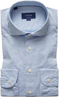 Eton Soft Collection Contemporary Fit Solid Cotton & Silk Dress Shirt