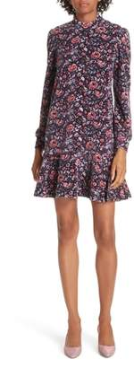 Rebecca Taylor Floral Velour Fit & Flare Dress