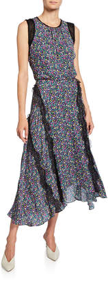 Jason Wu Confetti Floral-Print Sleeveless Dress with Lace Trim