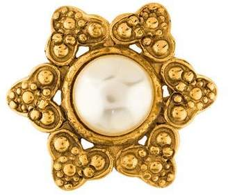 Chanel Faux Pearl Star Brooch