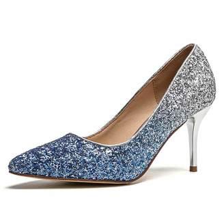 9be274ba46e CYBLING Women s Glitter Gradient Stiletto High Heels Pumps Slip On Closed  Pointed Toe Wedding Dress Shoes