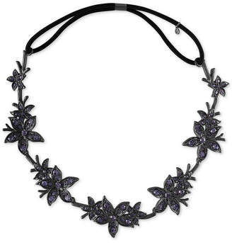 Rachel Roy Black-Tone Crystal Flower Headband