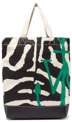 J.W.Anderson Zebra And Leopard Print Canvas Tote Bag - Womens - Black White
